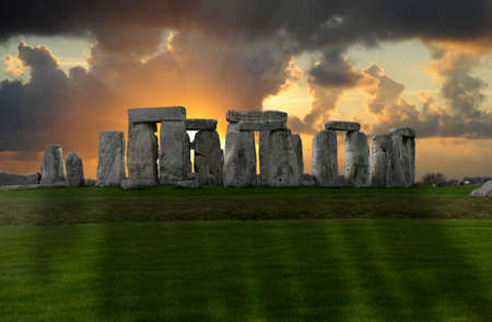 The ancient rock circle at Stonehenge, England Stock Photo