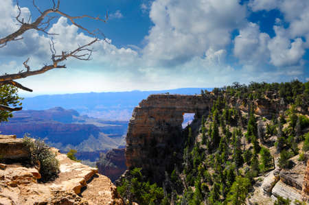View of the rock formation, Angels Window, North Rim of the Grand Canyon Stock Photo