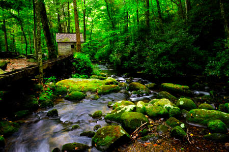 great smoky national park: Flume and mill along a creek in Great Smoky Mountains National Park, Tennessee  Stock Photo