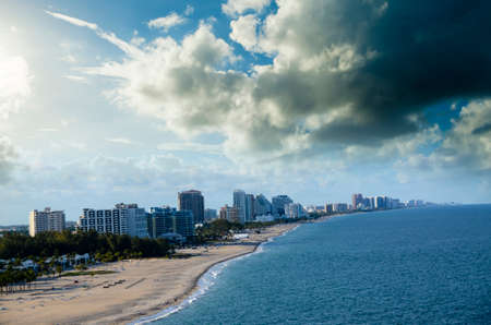 Beach and cityscape of Fort Lauderdale Florida taken from Port Everglades