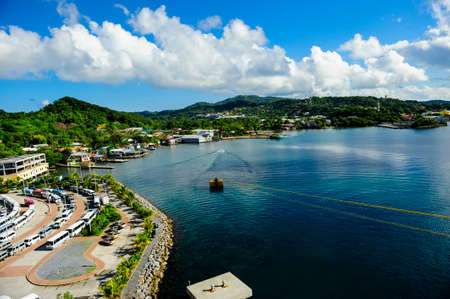 View from a cruise ship docked at Roatan Honduras