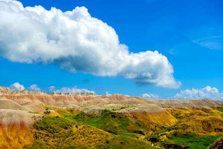 scenic  landscape: Colorful rock formations in Badlands National Park, South Dakota  Stock Photo