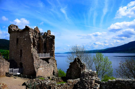 The ruins of Urquhart Castle on Loch Ness, Scotland photo