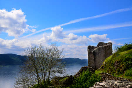 loch ness: Ruins of Urquhart Castle overlooking Loch Ness, Scotland