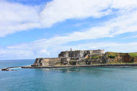 The old spanish fort Castillo de Dan Felipe del Morro at the entrance to the bay at San Juan Puerto Rico.
