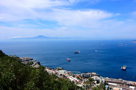 Bay of Gibraltar and in the distance, Morocco and North Africa.