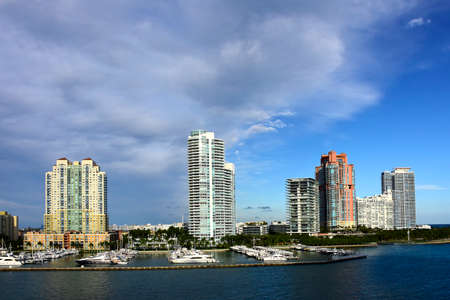Cityscape of Miami Florida, cruising out of the port of Miami.
