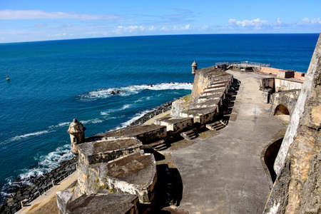 Fort in Puerto Rico, Castillo de San Felipe del Morro overlooking the Atlantic Ocean.