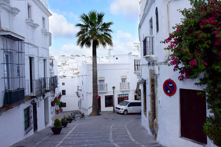 a narrow street in  Vejer de la Frontera Spain. Stock Photo