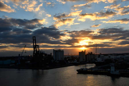 Sunset at Port Everglades, Fort Lauderdale. Stock Photo