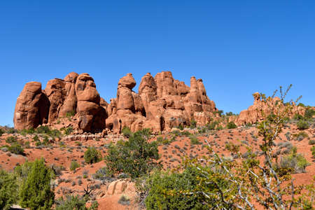 Red rock formations at Arches National Park, Moab Utah.