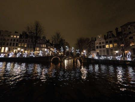 amsterdam canal: Light Festival Amsterdam canal bridge Stock Photo
