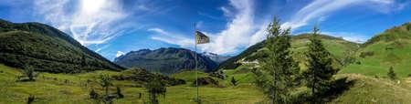 blue widescreen widescreen: Panorama Swiss mountains in Andermatt