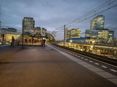 hubs: Train tracks on overpass Stock Photo