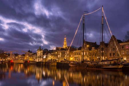 ketch: Ketch moored in river Spaarne Haarlem Stock Photo