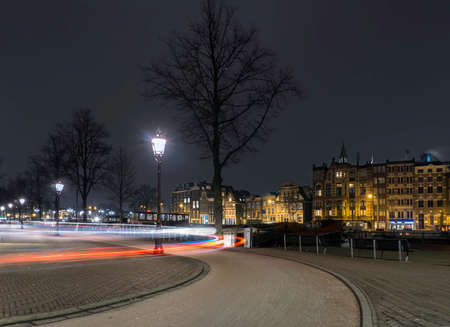 Cycle lane light trails Amsterdam Stock Photo