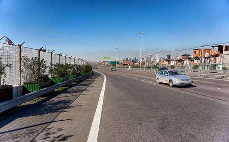 Highway through slum