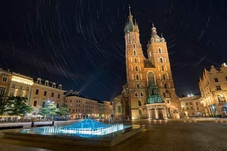 St. Marys Basilica Krakow at night