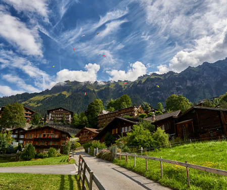 Paragliders of mountain, Lauterbrunnen Switzerland