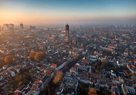 Luchtfoto van het centrum van Utrecht