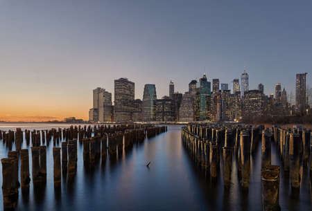Brooklyn bridge park pylons at blue hour