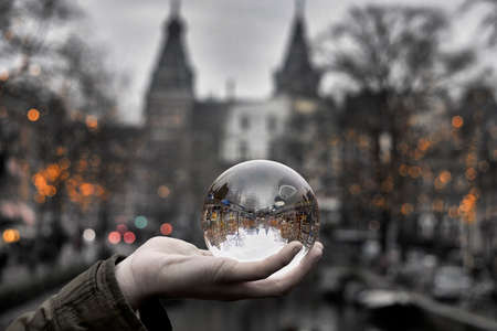 Photography sphere reflections of the Amsterdam Spiegelgracht canal in christmas time