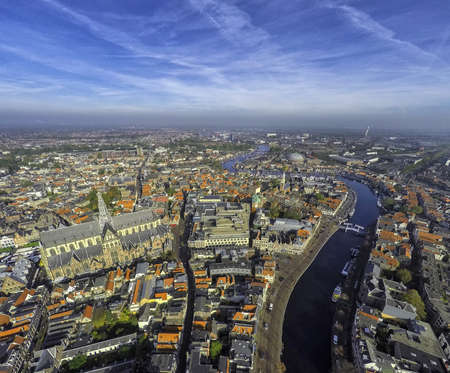 Aerial view of the city center of Haarlem