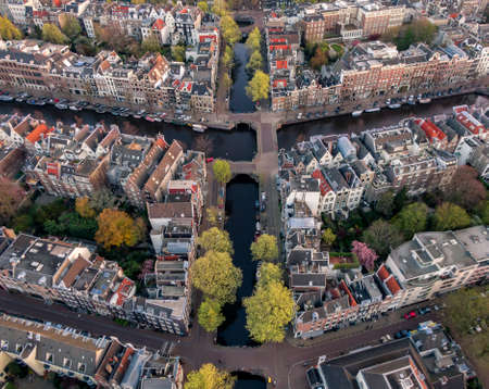 Aerial view of Amsterdam canals