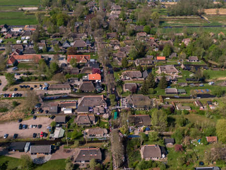 Aerial view of the famous Dutch village Giethoorn 스톡 콘텐츠