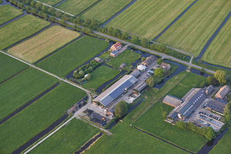 Aerial or modern farm with solar panels on the roof Reklamní fotografie