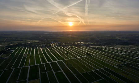 Aerial view of cultivated reclaimed land in the Netherlands at sunset Reklamní fotografie