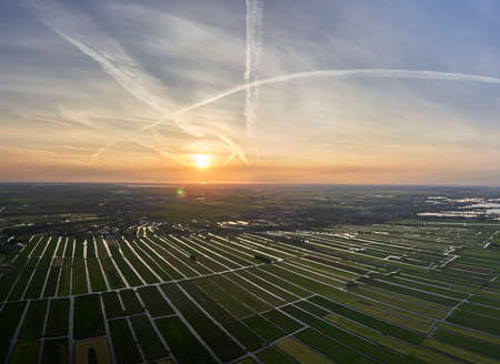 Aerial panorama view of cultivated reclaimed land in the Netherlands at sunset Reklamní fotografie
