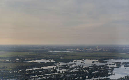 Aerial view of Loosdrecht lakes and Amsterdam in the background