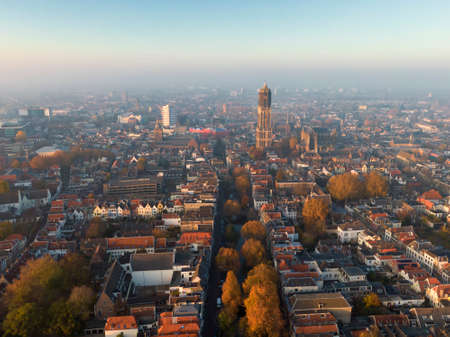 Aerial of Utrecht city center with dom church and canal