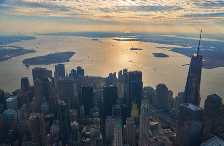 Aerial of downtown manhattan financial district and upper new york bay looking south