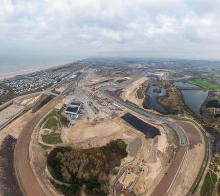 High resolution aerial image of Race track in the dunes undergoing maintenance in preparation for racing event