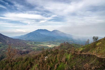 Green volcanic landscape near Mount Batur on Bali, Indonesia