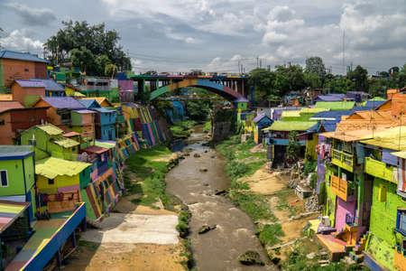 The colorful rainbow village of Malang, on East Java, Indonesia 版權商用圖片