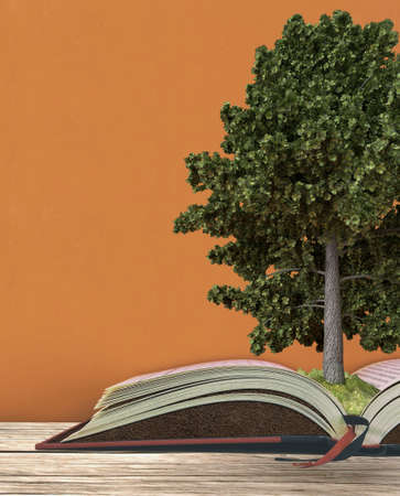 education concept with tree growing from soil on open book of environmental knowledge on wooden desk