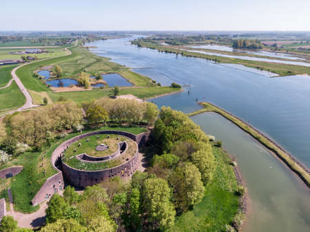 Aerial view of historic green fortress near Lek river in the Netherlands