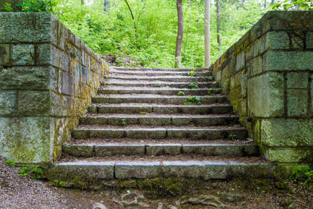 dampness: Old stairs in park covered with moss from dampness. Stock Photo