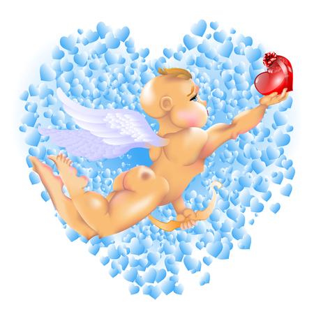 Cupid & Hearts. EPS-10. Transparency & Gradient Mesh used. Vector