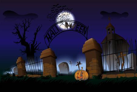 Night of Halloween. Cementry. Vector Illustration. EPS10.