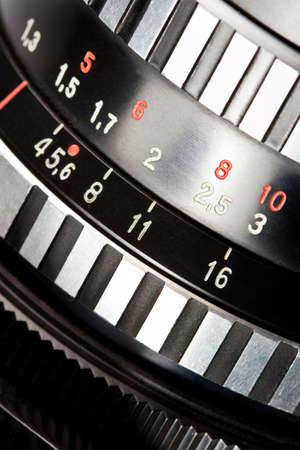 specificity: old camera lens scale closeup