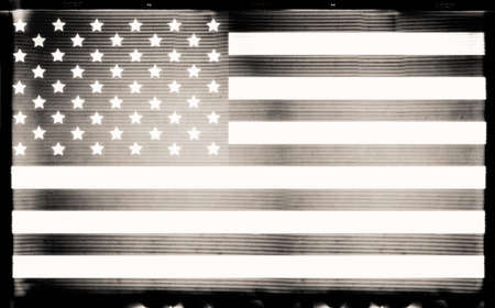painterly effect: USA flag in grunge BW film style