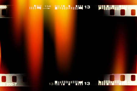 color filmstrip sample with light leak background Banco de Imagens