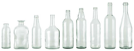 old container: empty bottles collection, colorless, isolated