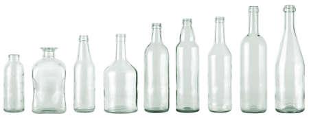 leere flaschen: Leergut Sammlung, farblose, isoliert  Lizenzfreie Bilder
