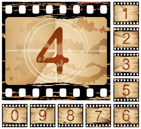 film negative: grunge film countdown, each frame is different Illustration
