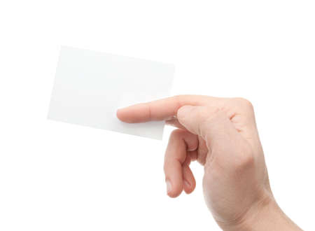 Hand whit a card a over white background Stock Photo - 6737880